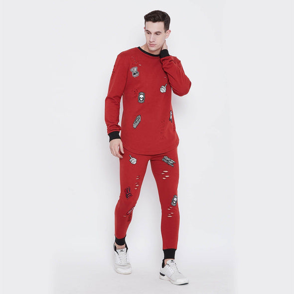 Rust Patched Combo Jogsuit Suits - Fugazee
