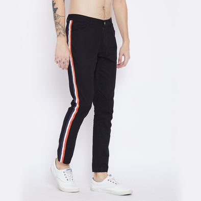 Black Taped Chinos Trousers - Fugazee