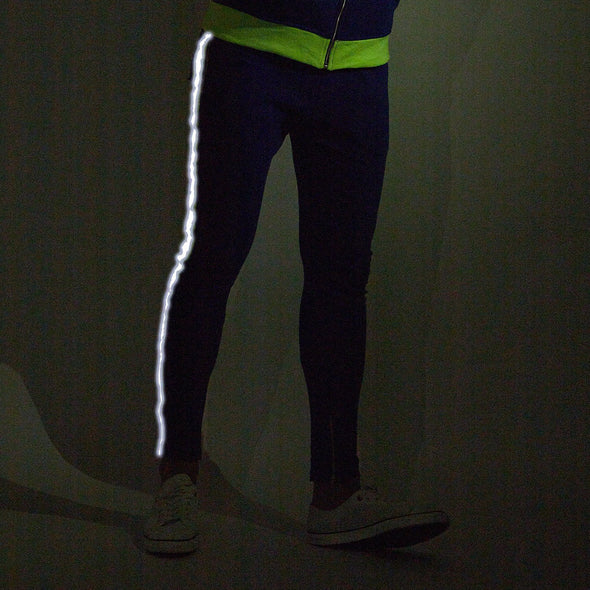 Blue Neon Reflective Taped Sweatpants