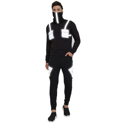 Black Reflective Pocket Tracksuit With Matching Face Cover