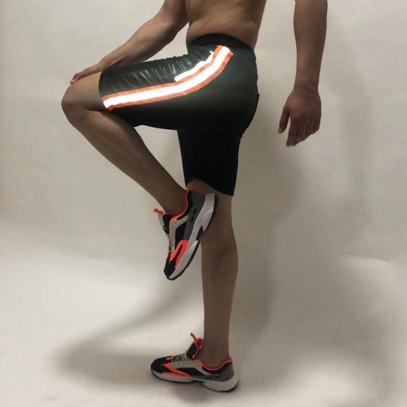 Black Neon Orange Reflective Taped Shorts Shorts - Fugazee
