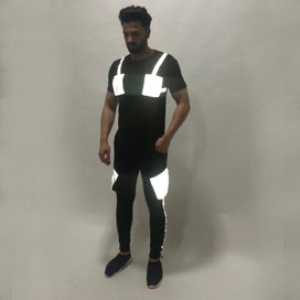 Black Reflective Chest Pocket Taped Tshirt and Cargo Joggers Combo Suit Suits - Fugazee