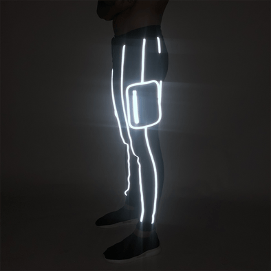 Black Reflective Piping Cargo Joggers Joggers - Fugazee