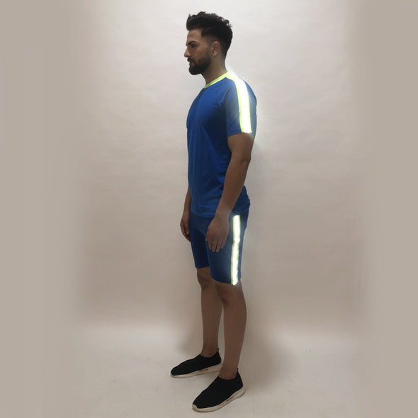 Electric Blue Reflective Taped Tshirt and Shorts Combo Suit Suits - Fugazee