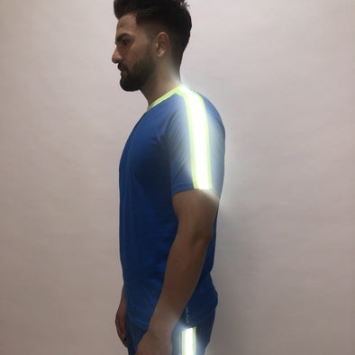 Electric Blue Reflective Taped Tshirt T-Shirts - Fugazee