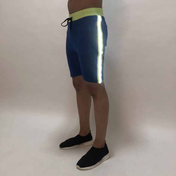 Electric Blue Reflective Taped Shorts Shorts - Fugazee
