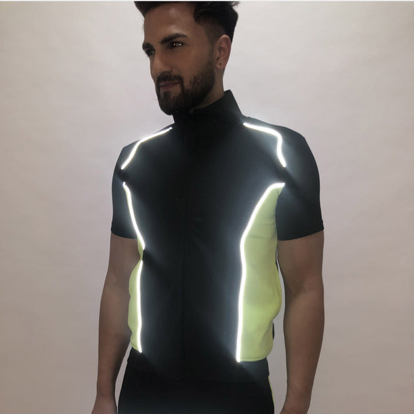 Black and Neon Green Reflective Piping T Shirt T-Shirts - Fugazee