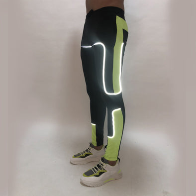 Black and Neon Green Reflective Piping Joggers Joggers - Fugazee