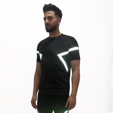 Black Rainbow Reflective Taped Tshirt
