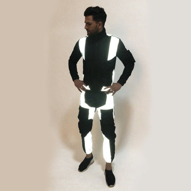 Black Nylon Reflective Cargo Light Weight Combo Tracksuit