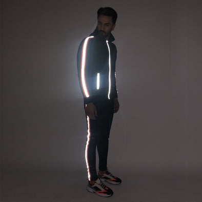 All Black Neon Orange Reflective Sweatshirt and Sweatpants Combo Jogsuit Suits - Fugazee
