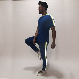 Electric Blue Reflective Tshirt and Trackpants Combo Suit