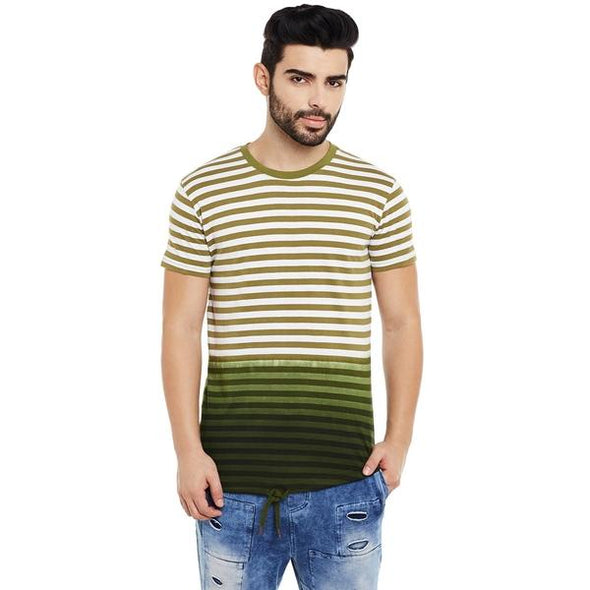 Olive Striped Ombre Drawcord Tee T-Shirts - Fugazee