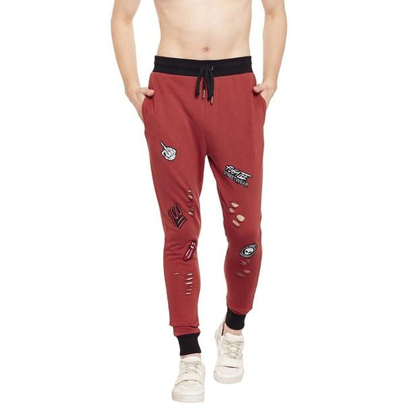 Rust Patched Distressed  Joggers Joggers - Fugazee