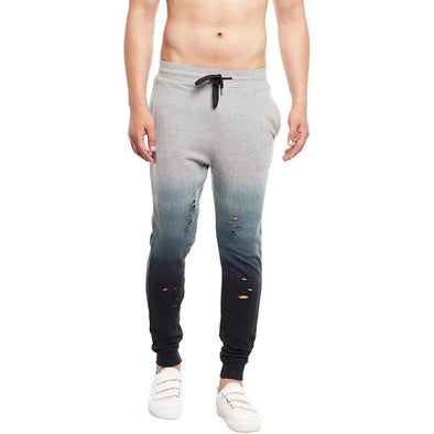 Grey Ombre Distressed Joggers - Fugazee