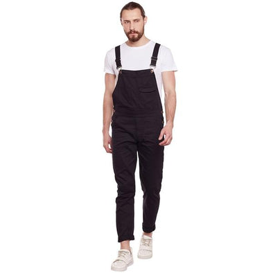 All Black Full Length Dungaree Dungarees - Fugazee
