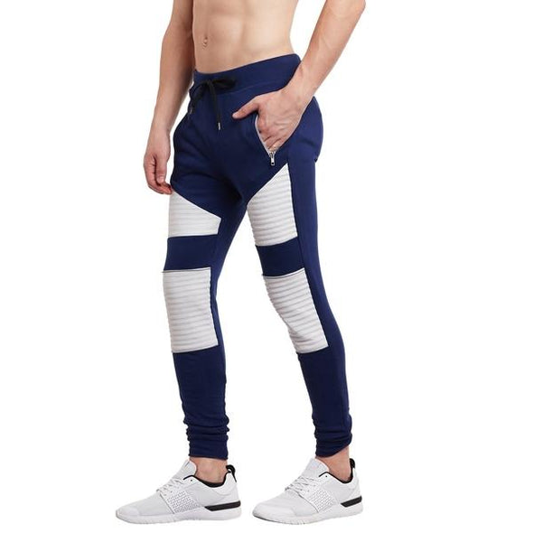 Navy Faux Leather Biker Joggers Joggers - Fugazee