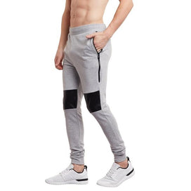 Grey Faux Leather Zipped Joggers Joggers - Fugazee