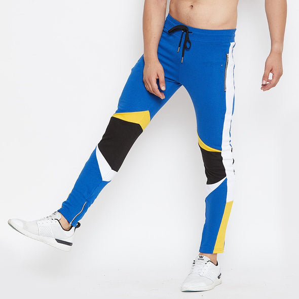 Electric Blue Cut & Sew Sweatpants Joggers - Fugazee