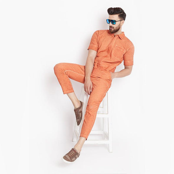 Rust Pigment Washed Jumpsuit Jumpsuit - Fugazee
