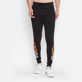 Black Checkered Flames Patch Joggers Joggers - Fugazee