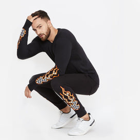 Checkered Flames Tshirt and Joggers Combo Suit Suits - Fugazee