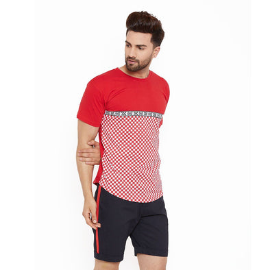 RED & WHITE CHECKERED CURVED HEM TEE T-Shirts - Fugazee