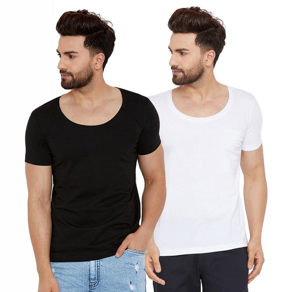 Black & White Deep Scoop Neck T shirts Combo Combos - Fugazee