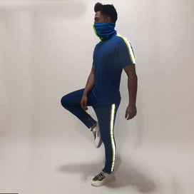 Electric Blue Reflective Tshirt and Trackpants Combo Suit With Matching Mask