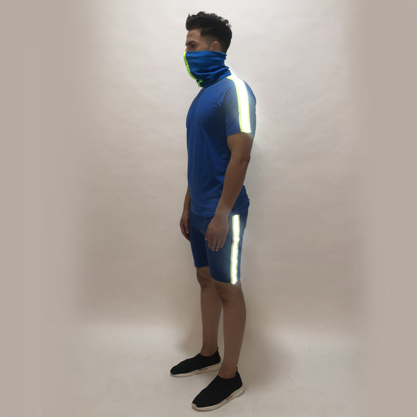 Electric Blue Reflective Taped Tshirt and Shorts Combo Suit With Matching Mask