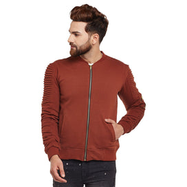 Chocolate Gathered Sleeves Bomber Jacket OUTERWEAR - Fugazee
