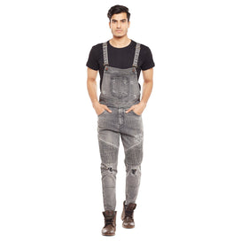 Grey Biker Distressed Dungaree Dungarees - Fugazee