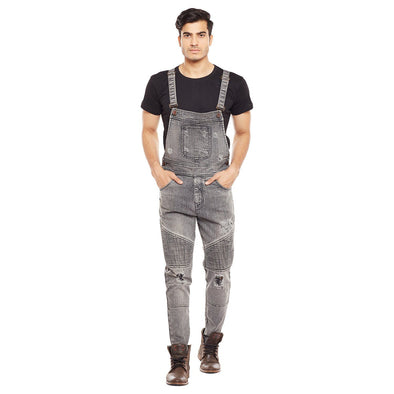 Grey Biker Distressed Dungaree Suits - Fugazee