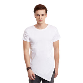 White Triangular Hem Tee T-Shirts - Fugazee