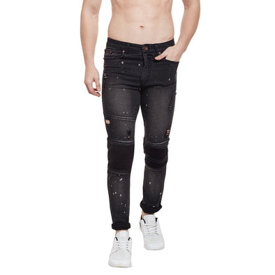 Black Splatter Biker Denim Jeans - Fugazee