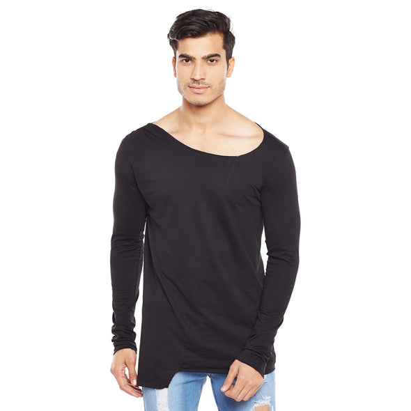 Black Fall Neck Longsleeve Tee T-Shirts - Fugazee
