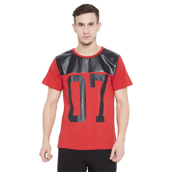 Red Faux Leather 07  Tee T-Shirts - Fugazee