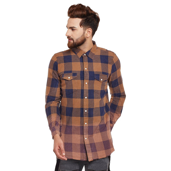 Mustard Washed Check Shirt Shirts - Fugazee