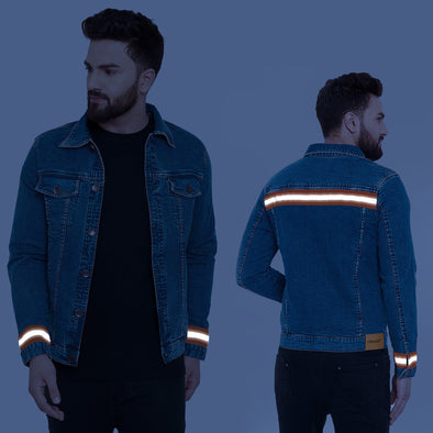 Reflective Denim Jacket Jackets - Fugazee