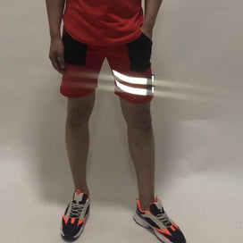 Red Buckled Reflective Shorts Shorts - Fugazee