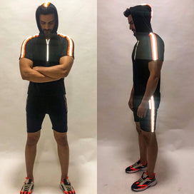 Black Neon Orange Reflective Hooded Tshirt and Shorts Combo Suit Suits - Fugazee