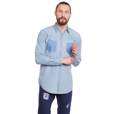 Denim Shirt With Contrast Mock Pocket Shirts - Fugazee