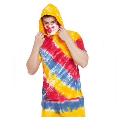 Yellow Tie and Dye Tshirt with Ribbed Face Cover