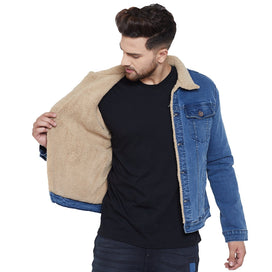 Dark Blue Faux Fur Lined Sherpa Denim Jacket