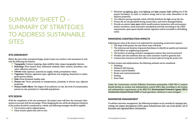 LEED Green Associate V4 Exam Study Sheets | LEED GA Study Sheets 2
