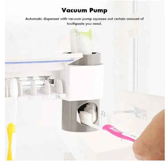 UV Toothbrush Sanitizer + Toothpaste Dispenser