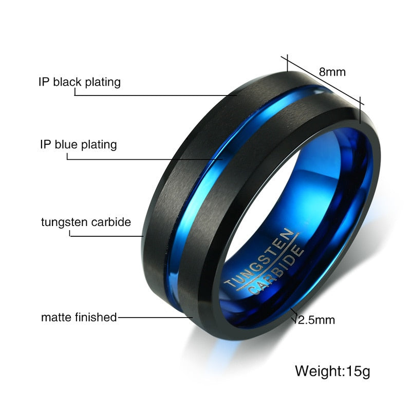 Men's Thin Blue Line Ring - Tungsten Carbide