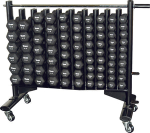 York Barbell Neo-Hex Club Pack + Rack Included (Neoprene Coated Iron - Black)