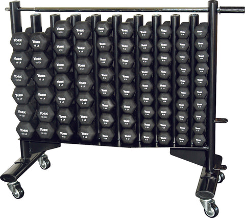 Image of York Barbell Neo-Hex Club Pack + Rack Included (Neoprene Coated Iron - Black)
