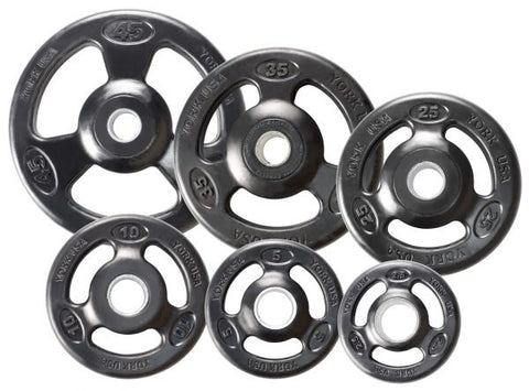 York Barbell ISO-GRIP Rubber Encased Steel Olympic Plate